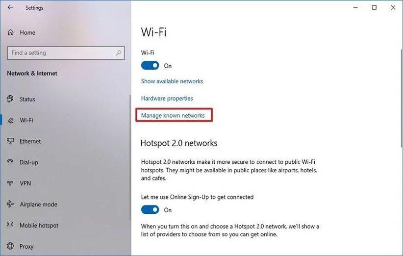 تنظیمات اینترنت در ویندوز 10