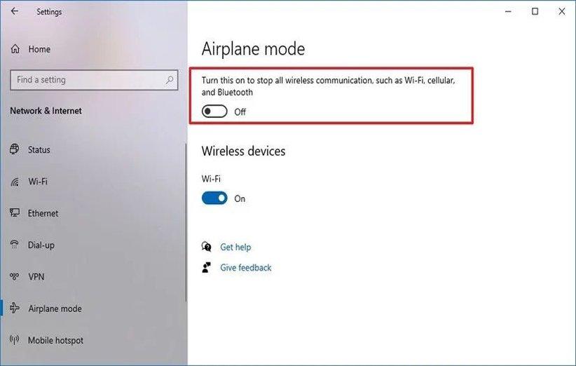 تنظیمات مربوط به حالت هواپیما در ویندوز 10