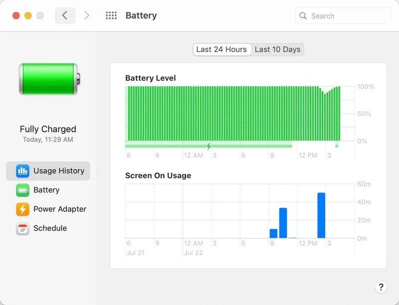 قابلیت بررسی باتری