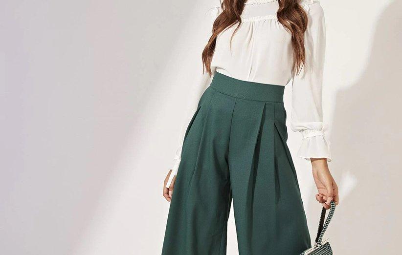 بلوز سفید با شلوار سبز برای شب یلدا
