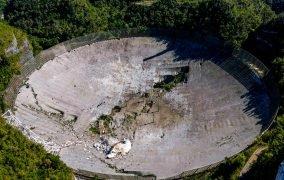 فروریختن سازهی علمی عظیم 900 تنی که امروز روی دیش تلسکوپ رادیویی آرسیبو