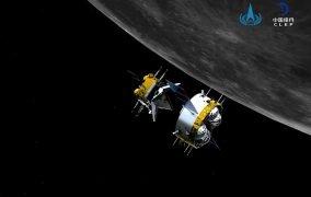طرحی گرافیکی از لحظهای ملاقات صعودگر و مدارگرد مأموریت چانگای 5 چین