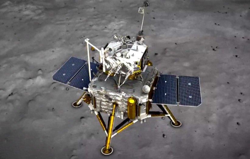 طرح گرافیکی مجموعهی سطحنشین و صعودگر چانگای 5 بر سطح ماه