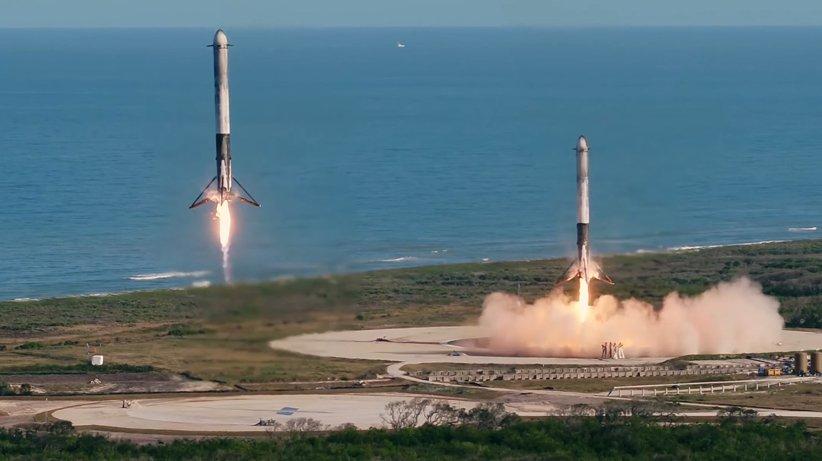 فرود دو بوستر موشک فالکون هوی