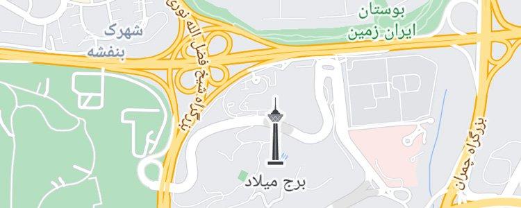 نشان ویژهی برج میلاد روی نقشهی گوگل