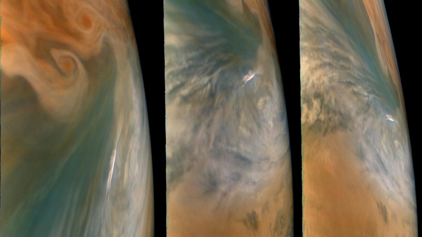 سه نما از نقاط داغ مشتری از دید فضاپیمای جونو
