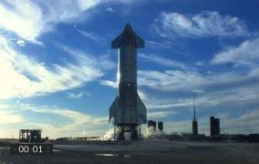 لحظهی لغو پرواز نمونهی اولیهی استارشیپ SN8 در سکوی پرتاب