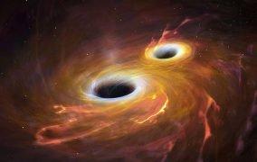 طرحی گرافیکی از ادغام دو سیاهچاله