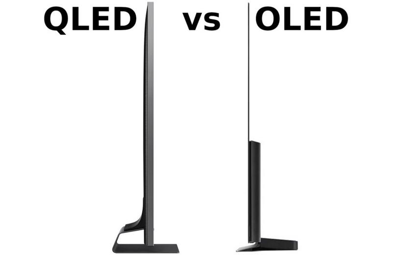 مقایسهی ضخامت تلویزیون سامسونگ Q90R (چپ) با الجی جی 9 (راست)