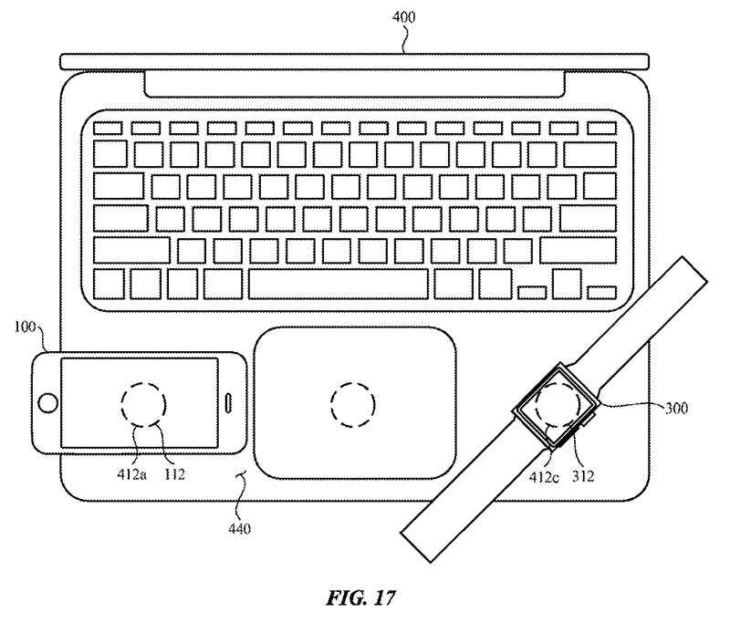 تصویری از پتنت اپل برای شارژ کردن بدون سیم آیفون و اپل واچ به کمک مک بوک