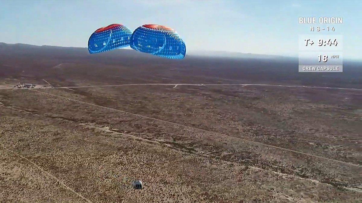 فرود کپسول بلو اوریجین در مأموریت NS-14