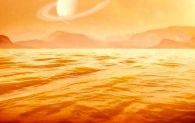 طرحی گرافیکی از دریاچهای در تایتان، قمر زحل