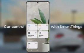 طرحی از برنامهی SmartThings سامسونگ در دستگاه همراه، که با اندروید اتو یکپارچه شده است.