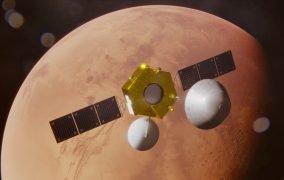 طرحی گرافیکی از رسیدن کاوشگر تیانون-1 چین به مدار مریخ