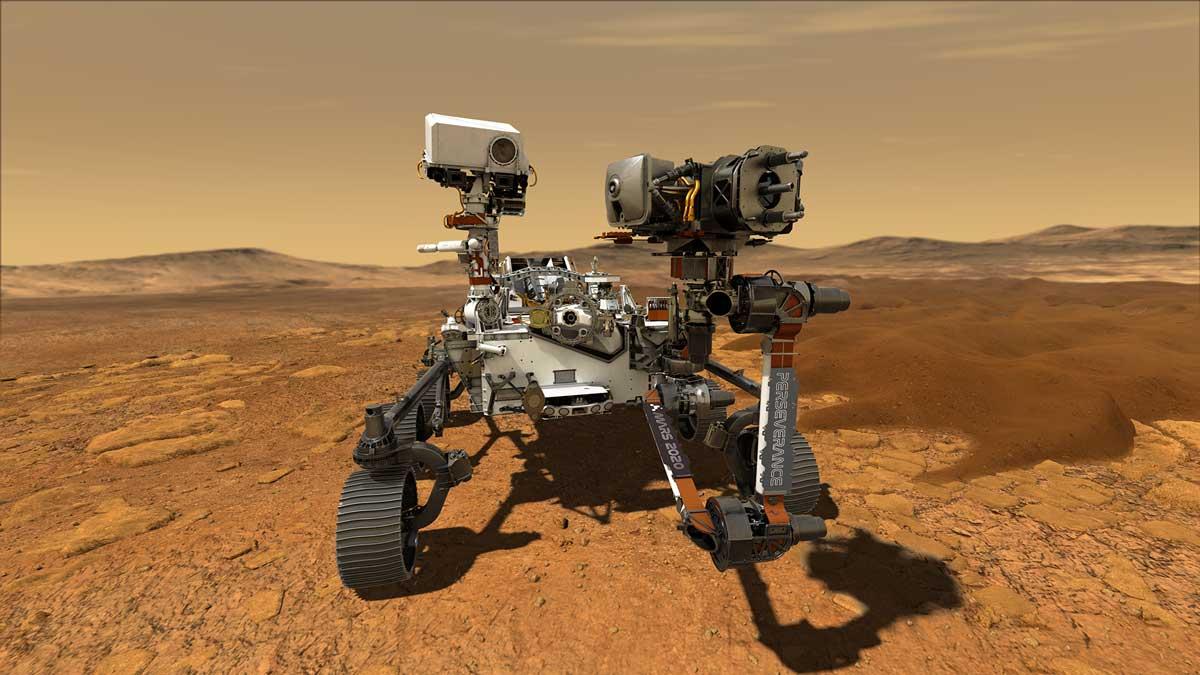 طرحی گرافیکی از حضور مریخنورد پشتکار بر سطح مریخ