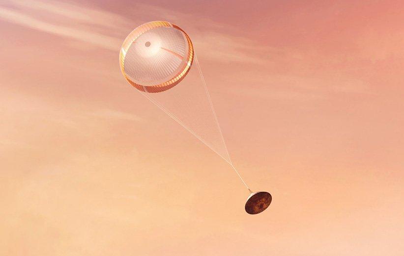 طرحی گرافیکی از باز شدن چتر نجات مریخنورد پشتکار ناسا در جو مریخ