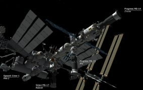 طرحی گرافیکی از اتصال فضاپیمای پروگرس 77 (MS-16) به ایستگاه فضایی بینالمللی