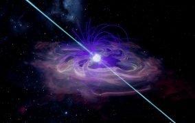 طرحی گرافیکی از ستارهی نوترونی در مرکز یک ابرنواختر