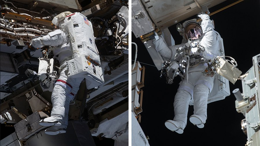 مایک هاپکینز و ویکتور گلاور در راهپمایی فضایی