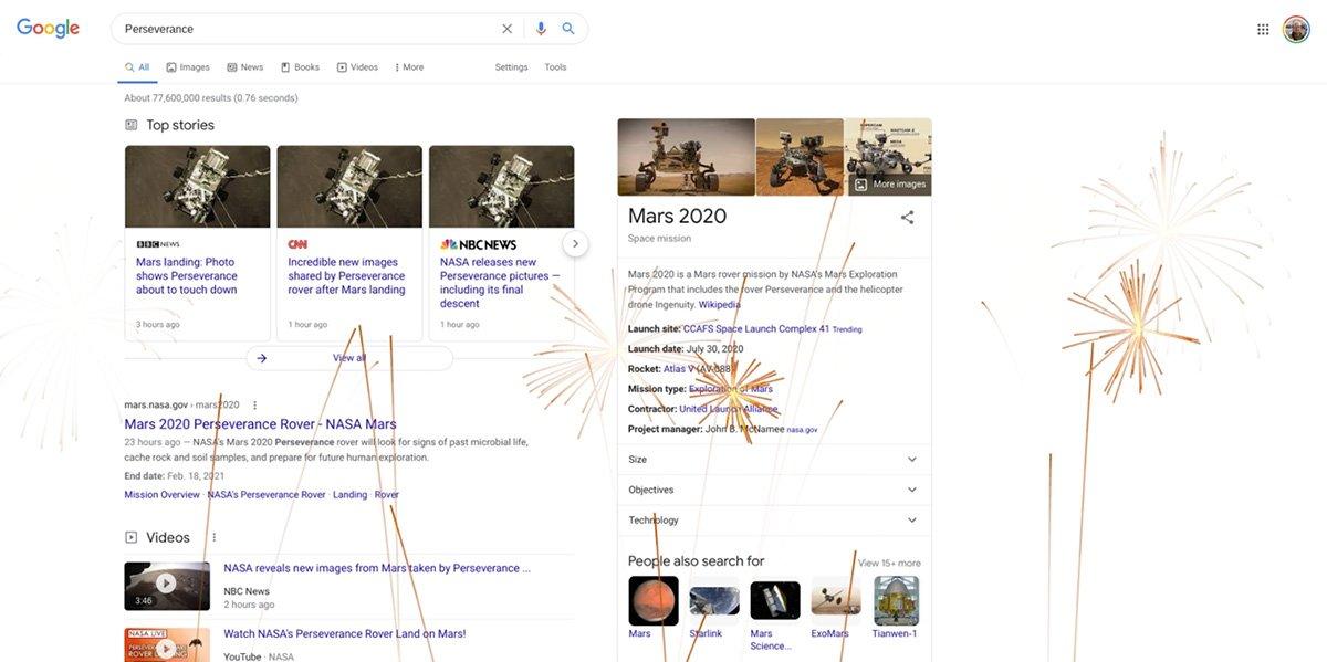 صفحهی جستوجوی گوگل با عبارتهایی دربارهی مریخنورد پشتکار