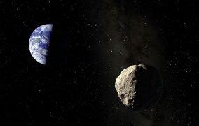 طرح گرافیکی گذر یک سیارک از نزدیکی زمین