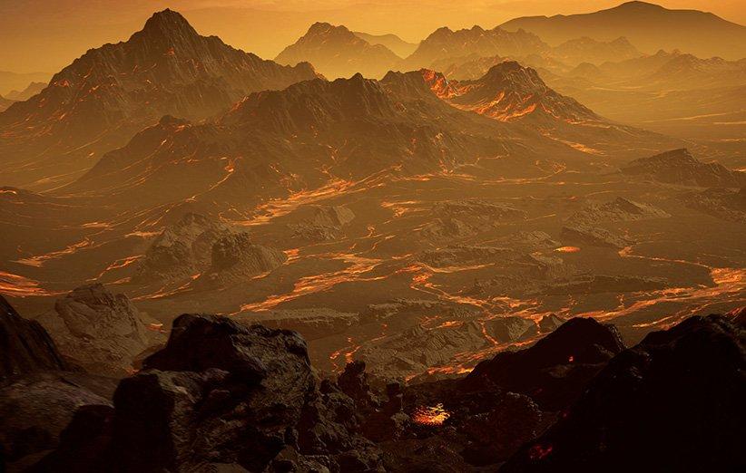 طرحی گرافیکی از جو و سطح سیارهی فراخورشیدی گلیز 486بی