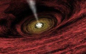 طرحی گرافیکی از یک سیاهچالهی در حال رشد
