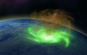 طرحی گرافیکی از طوفان چرخشی فضایی بر فراز قطب شمال