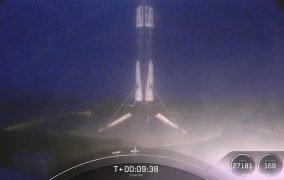 فرود بوستر مرحلهی اول B1051 موشک فالکون 9 بر روی سکوی شناور