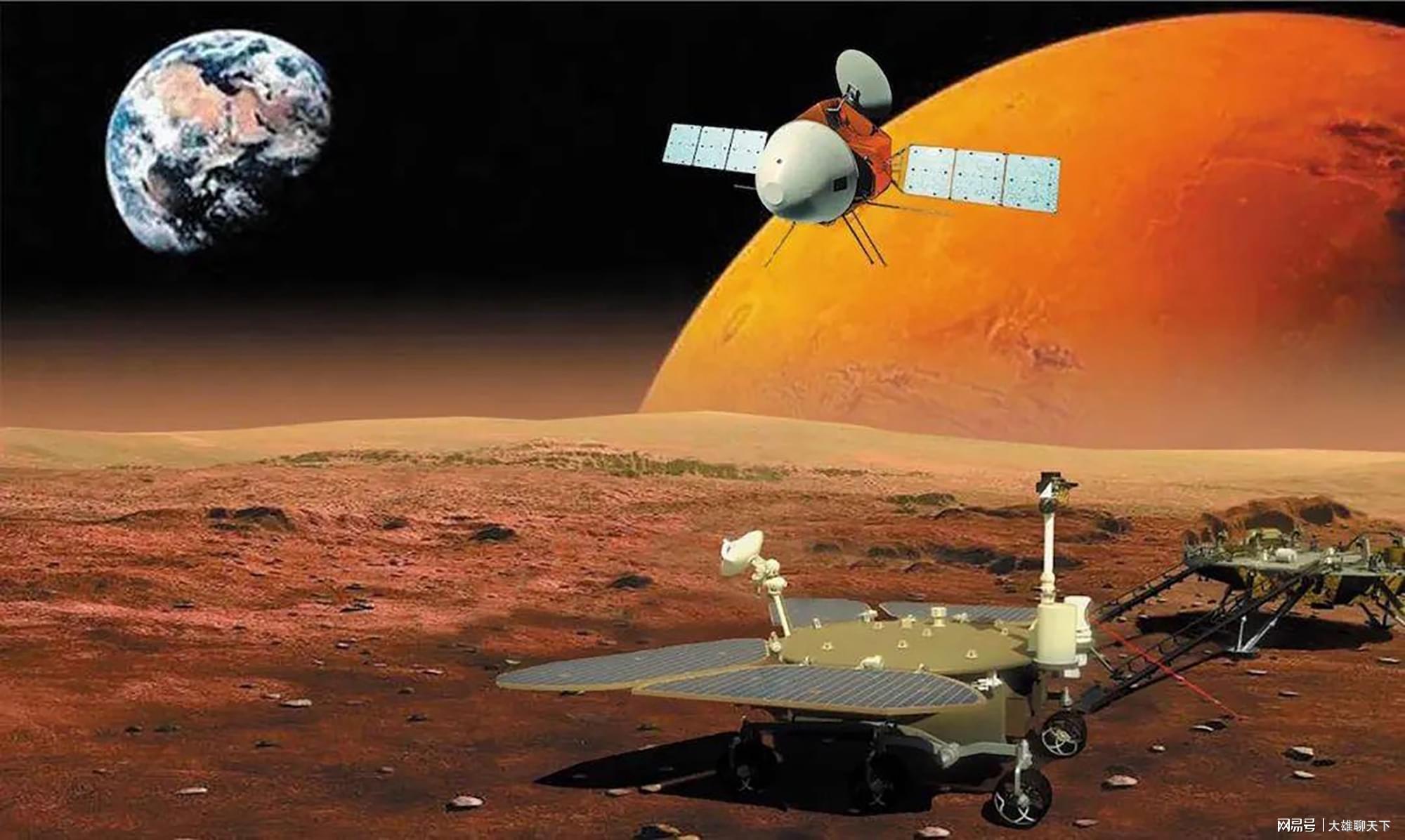 طرحی گرافیکی از مأموریت تیانون-1 چین در مریخ