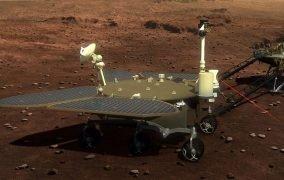 طرحی گرافیکی از عملکرد مریخنورد ژورونگ در سطح مریخ