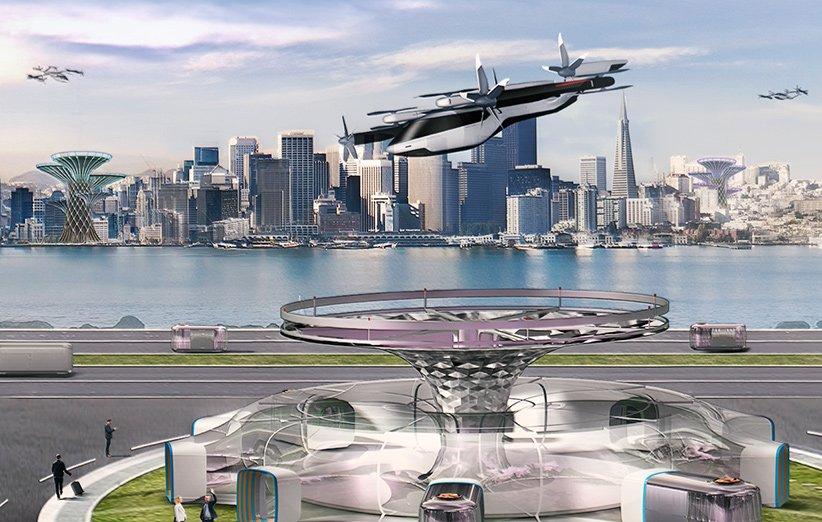 طرحی گرافیکی از هواگرد شهری هیوندای به عنوان یکی از فعالیتهای اصلی این شرکت در زمینهی حملونقل نوین