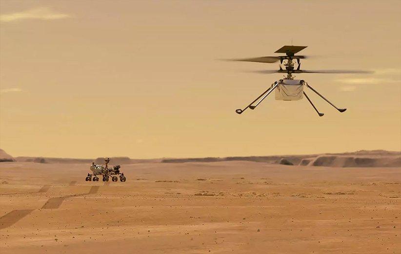 طرحی گرافیکی از نخستین پرواز بالگرد نبوغ در جو مریخ