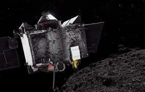 طرحی گرافیکی از گذر فضاپیمای اسیریس رکس از نزدیکی سیارک بنو
