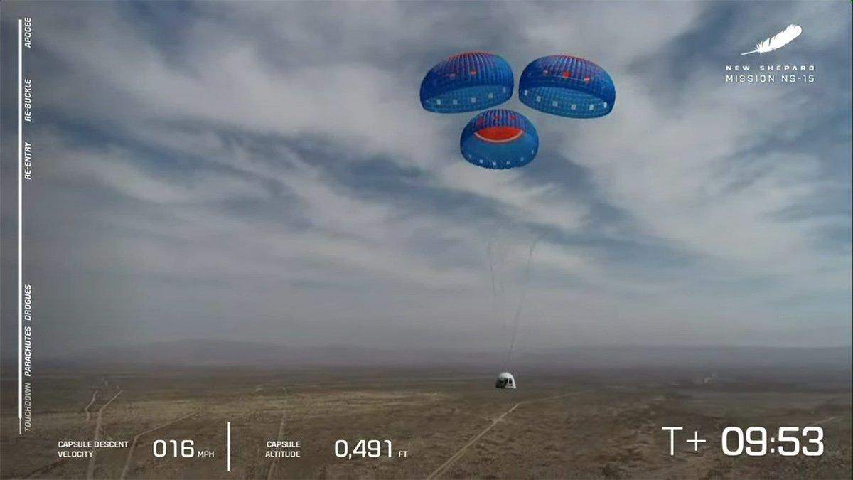 فرود کپسول فضاپیمای نیو شپرد NS-15