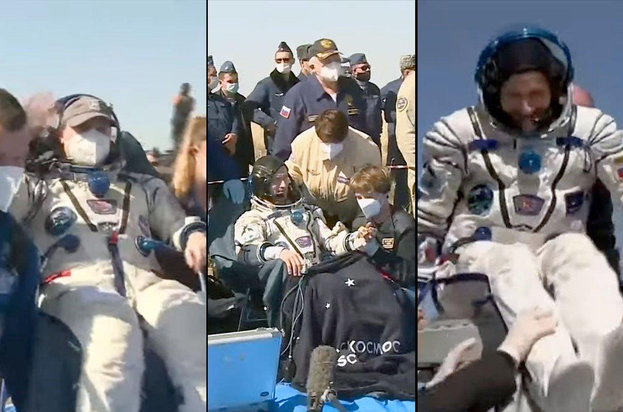فضانوردان مأموریت سایوز MS-17 پس از فرود بر روی زمین