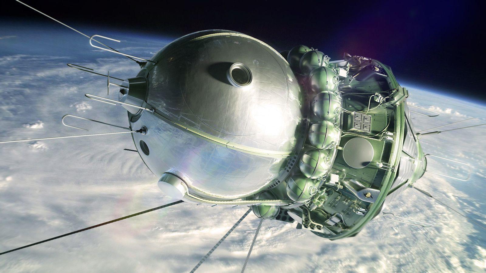 طرحی گرافیکی از فضاپیمای وستوک 1 شوروی