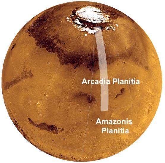 موقعیت هامونهی آرکادیا در نیمکرهی شمالی مریخ