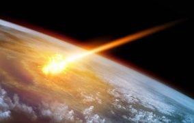 طرحی گرافیکی از برخورد سیارک به زمین