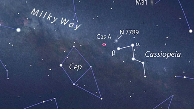 موقعیت ابرنواختر ذات الکرسی آ در صورت فلکی ذاتالکرسی