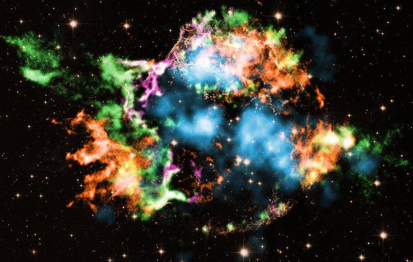 عناصر گوناگون در بقایای ابرنواختری ذاتالکرسی آ