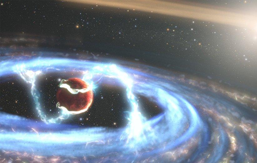 طرحی گرافیکی از شکلگیری سیارهی فراخورشیدی PDS 70b