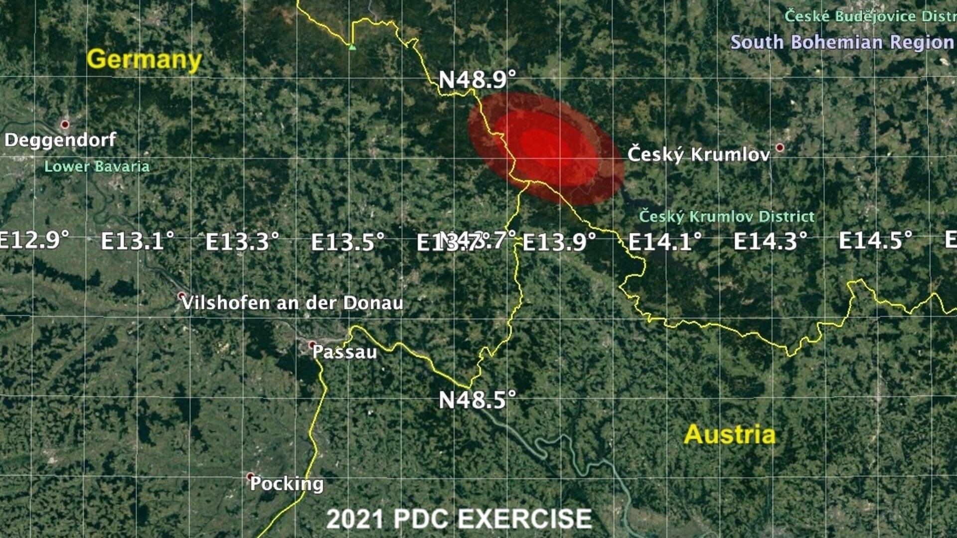منطقهی تأثیر پذیرفته در مانور برخورد سیارکی 2021