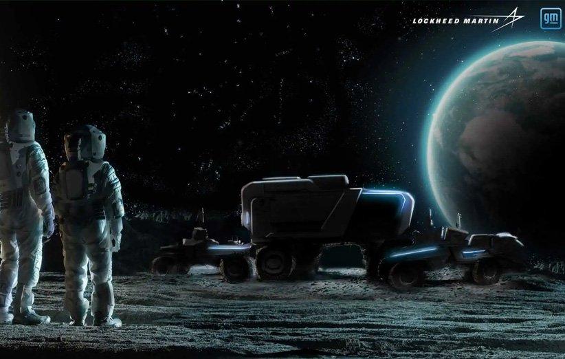 طرحی گرافیکی از خودروی ماهنورد جنرال موتورز و لاکهید مارتین