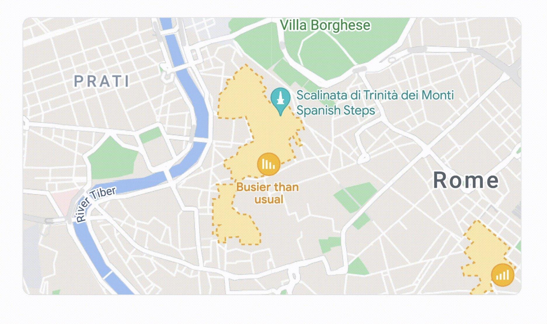 ویژگی شلوغی منطقه در گوگل مپ