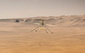 طرحی گرافیکی از پرواز بالگرد نبوغ در مریخ