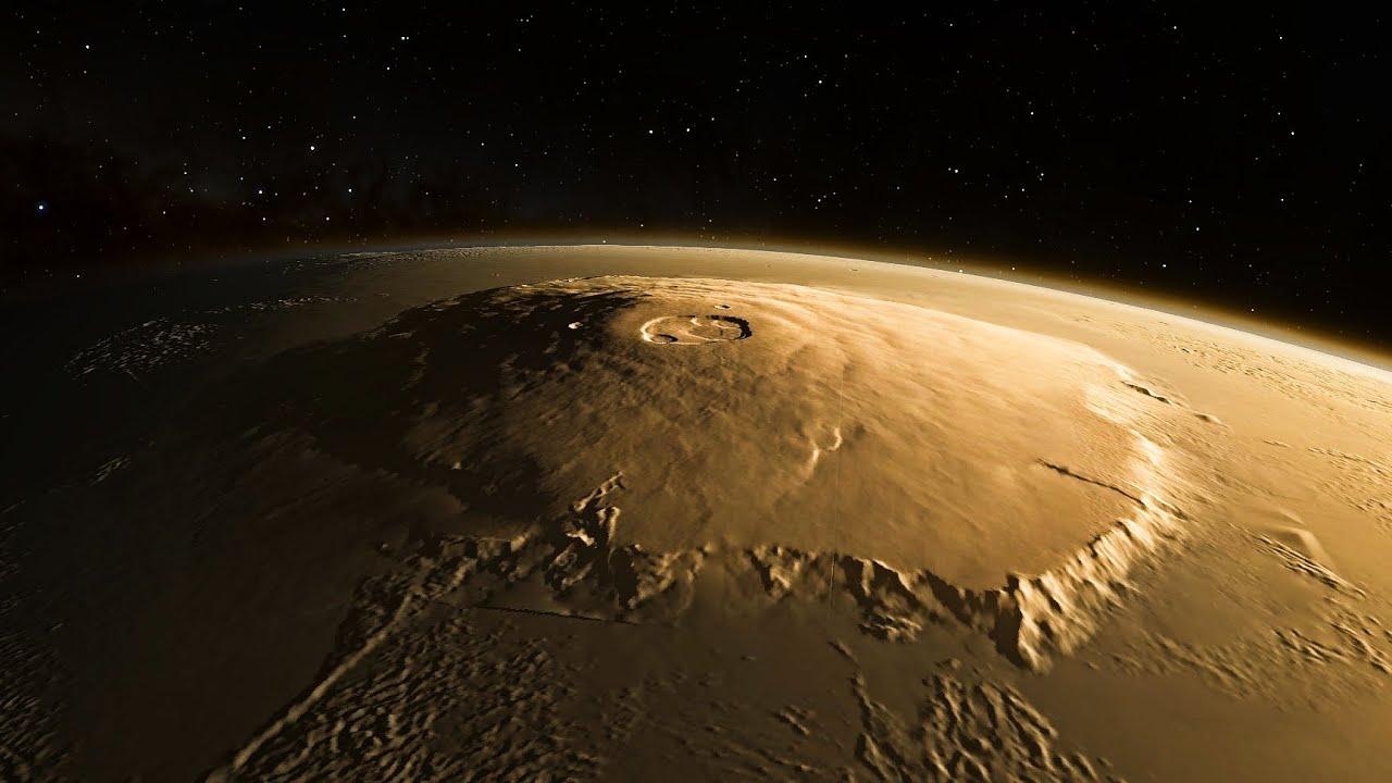 طرحی گرافیکی از کوه المپوس مریخ