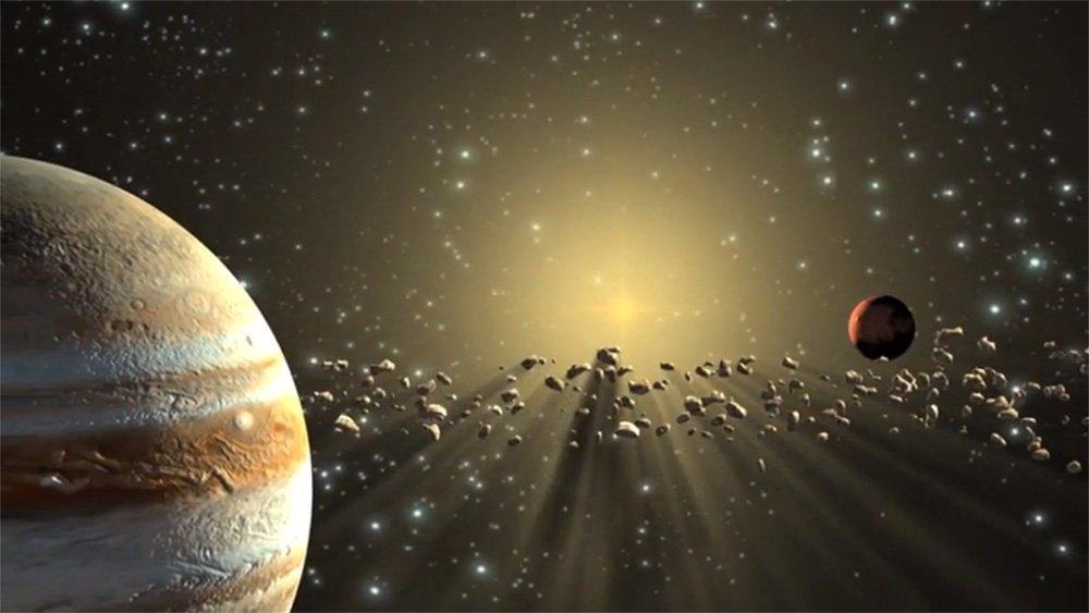 طرحی گرافیکی از موقعیت کمربند سیارکی
