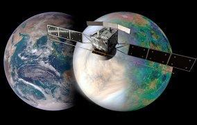 طرحی گرافیکی از زمین، ناهید و مأموریت اینویژن آژانس فضایی اروپا