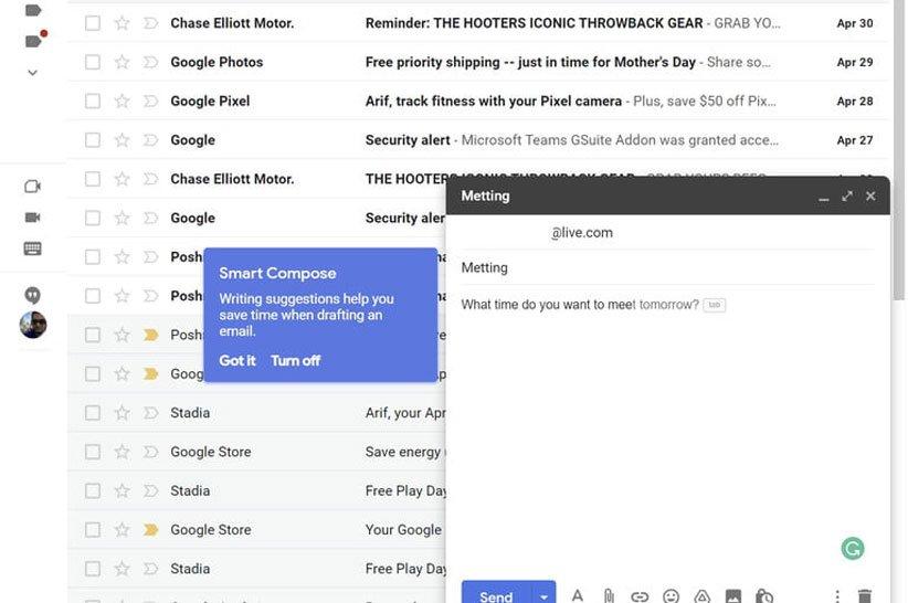 تکمیل هوشمند محتوای ایمیل